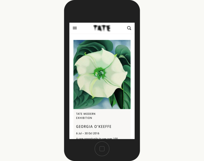 Tate card on mobile