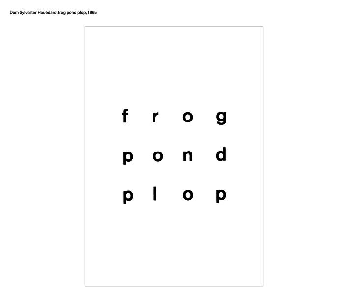 Dom Sylvester Houédard, frog pond plop, 1965