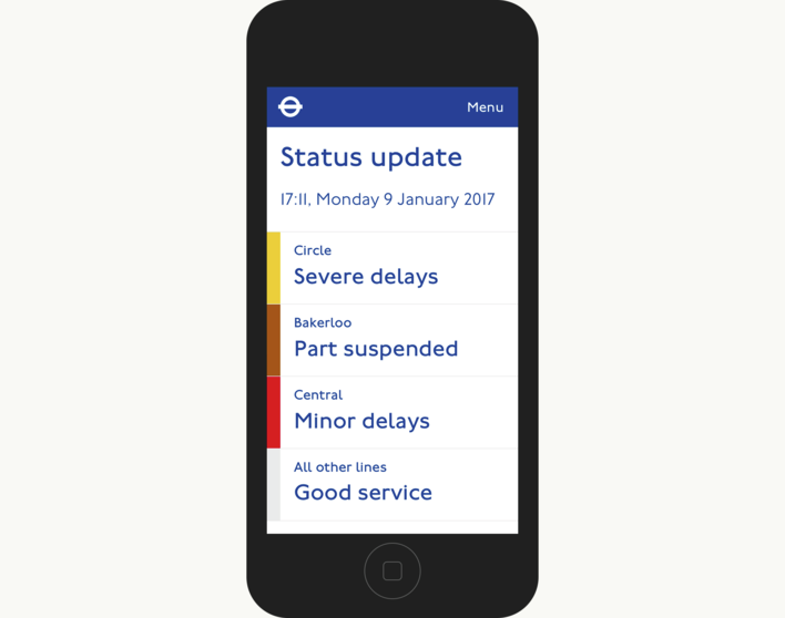 TfL Status Update Closed On Mobile