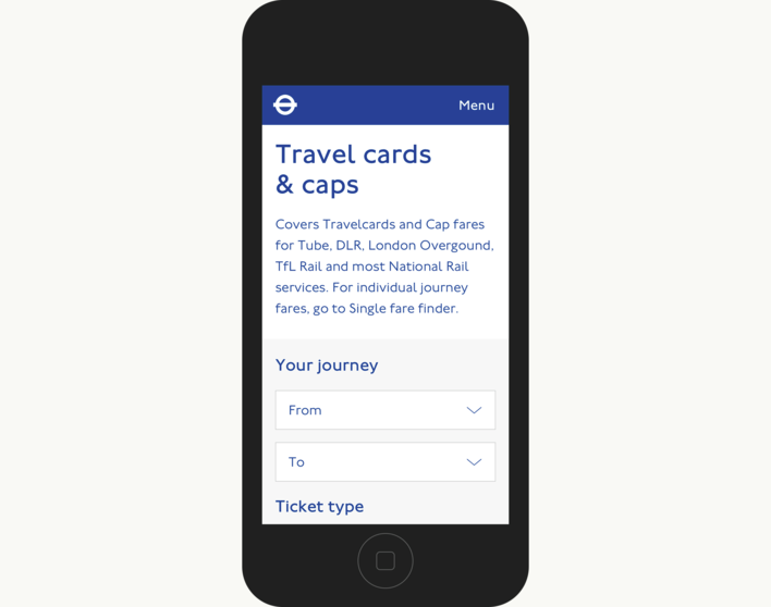 TfL Travel Cards On Mobile