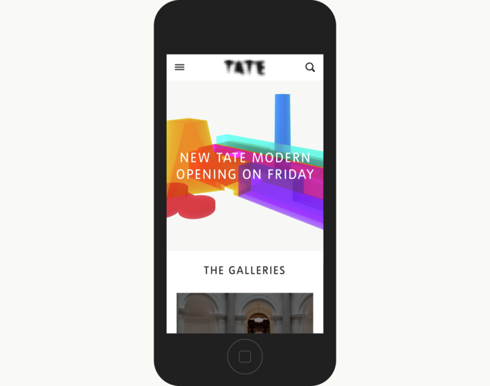 Tate homepage on mobile