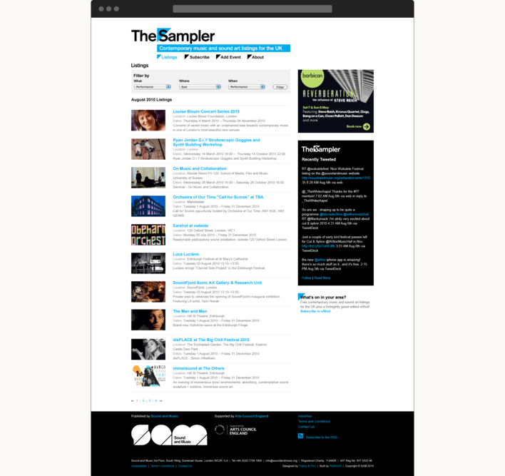 The Sampler website