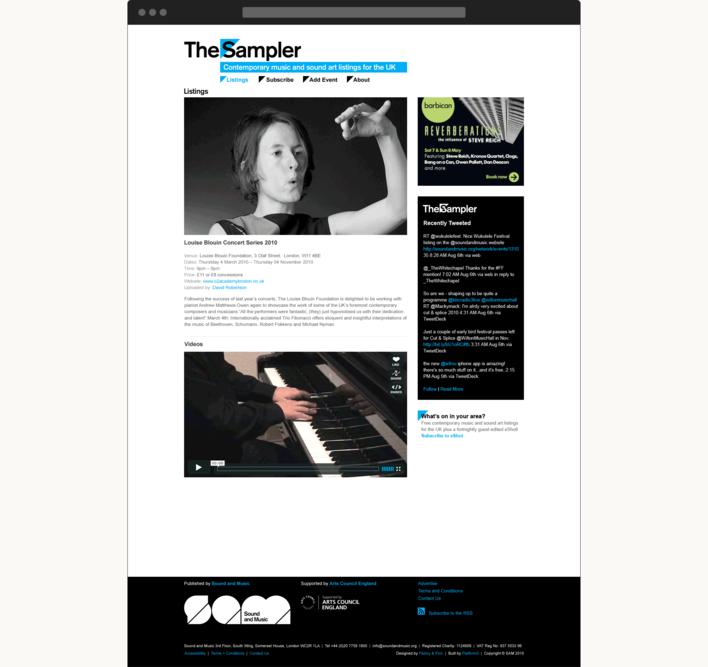 The Sampler website